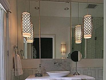 Светильники в интерьере ванной комнаты
