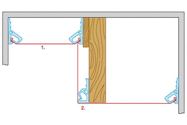 Схема монтажа двухуровневого потолка при помощи клипс на одном брусе