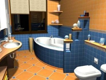 Яркая ванная и яркий туалет