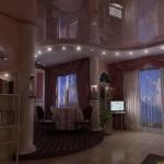 Сочетание зеркального и матового уровней потолков позволяет создать неповторимый визуальный эффект