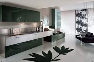 Кухня с матовым полом с рисунком