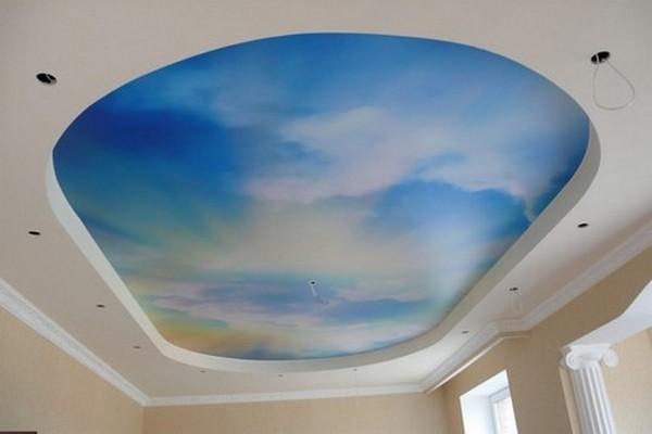 Натяжной потолок - облачное небо