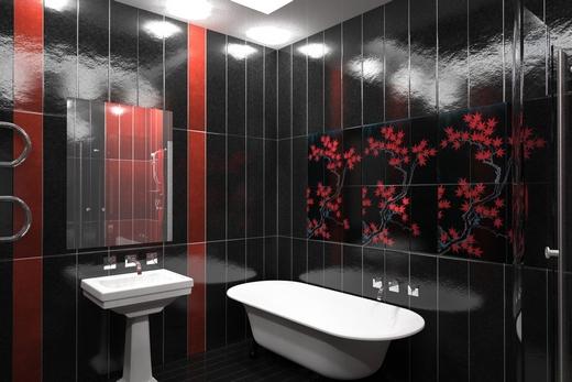 Сочетание черного и красного цветов в ванной