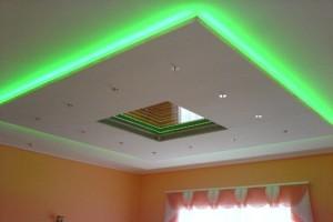 Из гипсокартона и натяжного полотна с подсветкой двухуровневый потолок