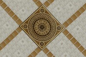 Медальон в центре плиточного покрытия