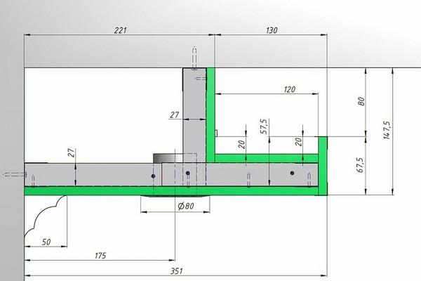 Короб из гипсокартона для подсветки натяжного потолка