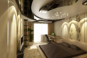 Спальня с весьма сложной потолочной композицией