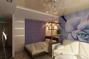 При помощи комбинированного потолка делим спальню на зоны