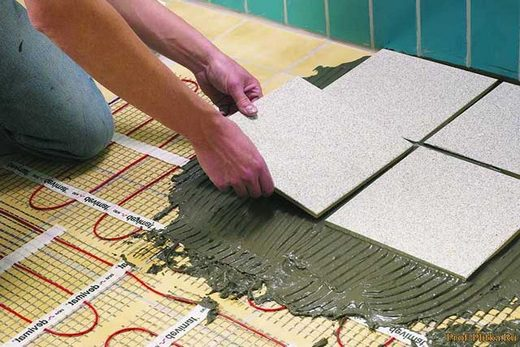 Монтаж плитки на теплый пол электрического вида