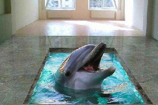 Интерьер комнаты с 3D наливным полом