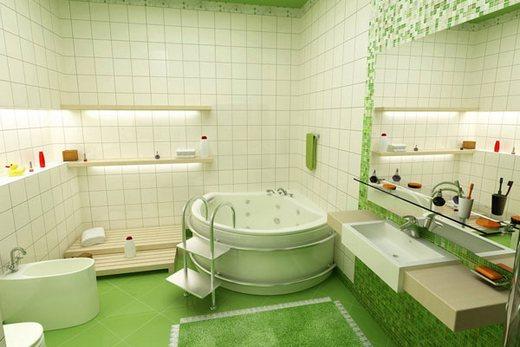 Совмещенный санузел зеленого цвета