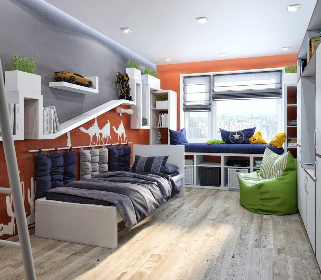 Идеи дизайна детской комнаты для мальчика с широким подоконником