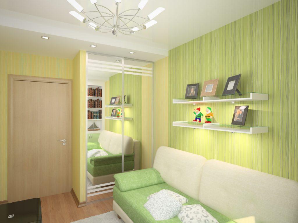 Идеи дизайна маленькой детской комнаты с зеркалом для девочки