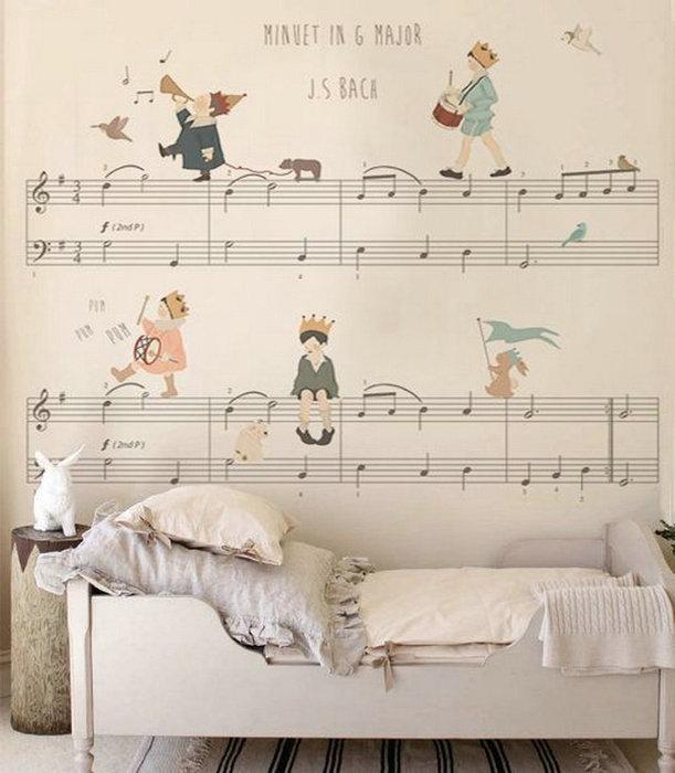 Украшаем стены в детской нотами