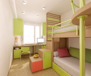 Дизайн комнаты для разнополых детей с письменным столом